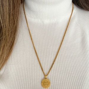 St Benedict Medallion Coin Necklace